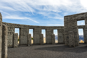 A Stonehenge replica memorializes World War I, Maryhill, Washington, United States of America