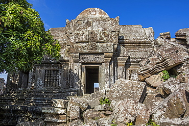 Ruins of the Main Sanctuary, as seen from West of Gopura I, Preah Vihear Temple, Preah Vihear, Cambodia