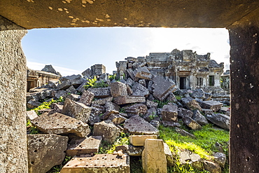 Ruins of the Main Sanctuary, as seen from the East Gallery of Gopura I, Preah Vihear Temple, Preah Vihear, Cambodia
