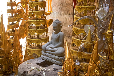 Buddhist shrine in the interior of a tower in Prasat Yeah Puon, the South Group, Sambor Prei Kuk, Kompong Thom, Cambodia