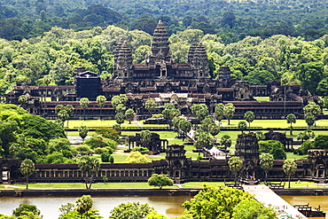 Aerial view of Angkor Wat, as seen from a hot air balloon, Siem Reap, Cambodia