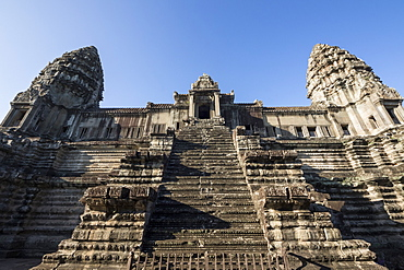 Towers of the central block of Angkor Wat, as seen from the second level, Siem Reap, Cambodia
