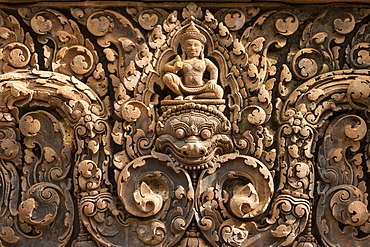 Bas-relief of Shiva mounted on Kala in Banteay Srei, Angkor, Siem Reap, Cambodia