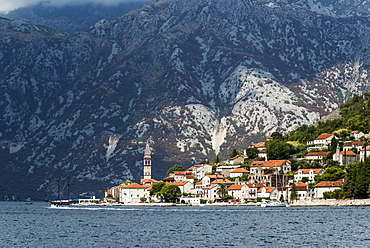 Bay of Kotor with buildings in the city of Perast along the coastline, Perast, Kotor Municipality, Montenegro