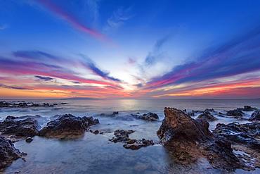 Dramatic sunset over the ocean, Wailea, Maui, Hawaii, United States of America
