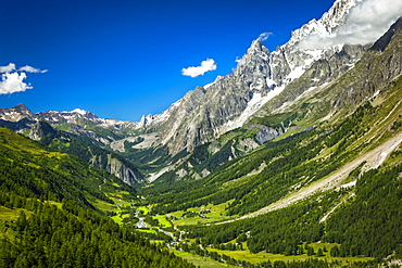 Mont Blanc Massif with Italian Val Ferret, Alps, La Vachey, Aosta Valley, Italy