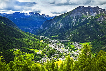 Aerial view of Courmayeur city surrounded by mountains, Courmayeur, Aosta Valley, Italy