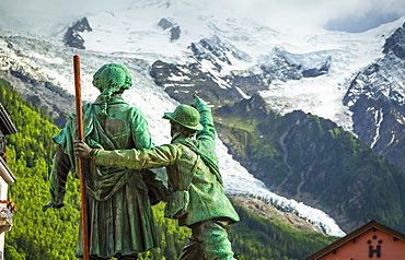 The statue of Saussure and Balmat, Chamonix-Mont Blanc, Rhone-Alpes, France