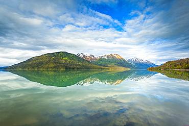 Reflections of Kenai Mountains in Kenai Lake, Alaska, United States of America
