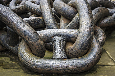Close-up of the link of a large, metal chain