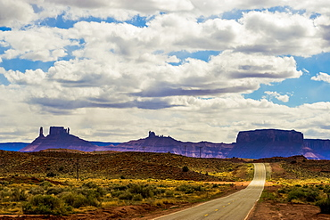 Silhouette of rock formations and cliffs in the distance in Castle Valley, Utah, United States of America