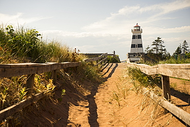 A sandy trail and wooden rail fence leading to a lighthouse on the coast, Prince Edward Island, Canada
