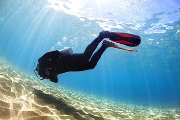 A male scuba diver in bright blue water, Makena, Maui, Hawaii, United States of America