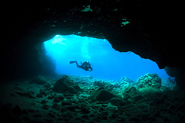 Silhouette of a scuba diver in a cave, Makena, Maui, Hawaii, United States of America