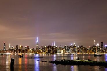 Manhattan skyline at night seen from Williamsburg, Brooklyn, New York, United States of America