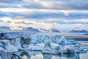 Icebergs at the glacial lagoon Jokulsarlon, Southern Iceland, Iceland