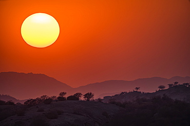Sunset over the hills and mountains, Jawai, Rajasthan, India
