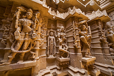 Ornate carvings in a Temple in Jaisalmer Fort, Jaisalmer, Rajasthan, India