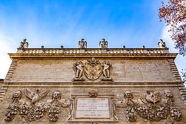 Historic monument with plaque, Avignon, Provence Alpes Cote d'Azur, France