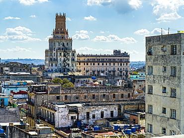 Skyline with an old residential building, Havana, Cuba