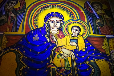 Ethiopian Orthodox ecclesiastical mural, depicting the Virgin and Child, in the interior of the Cathedral of Tsion Maryam (Our Lady Mary of Zion), built during the reign of Emperor Fasilides, Axum, Tigray Region, Ethiopia