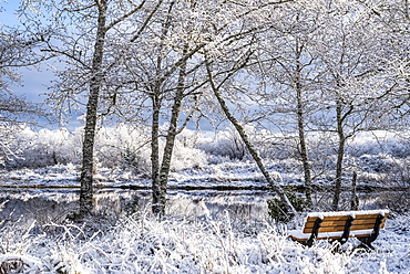 A delicate dusting of snow lingers on a winter morning with a bench looking out to tranquil water, Astoria, Oregon, United States of America