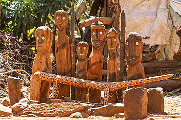 Wagas, memorial statues carved from wood, Karat-Konso, Ethiopia