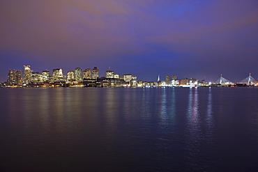 Buildings at the waterfront, Boston Harbor, Leonard P. Zakim Bunker Hill Bridge, Charles River, Boston, Suffolk County, Massachusetts, USA
