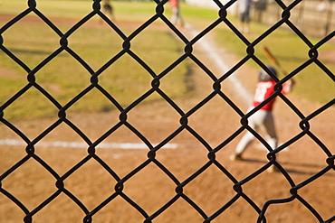 Players playing baseball, Langone Park, Boston, Suffolk County, Massachusetts, USA