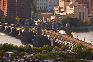High angle view of a bridge crossing a river, Longfellow Bridge, Charles River, Boston, Suffolk County, Massachusetts, USA