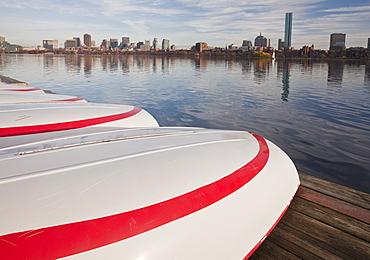 Boats at MIT Boathouse, Charles River, Boston, Suffolk County, Massachusetts, USA