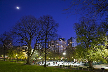 People skating in an ice rink, Frog Pond, Boston Common, Boston, Suffolk County, Massachusetts, USA