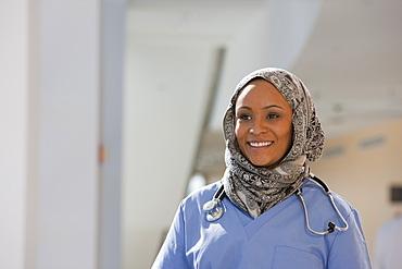 Close-up of a Muslim female nurse smiling
