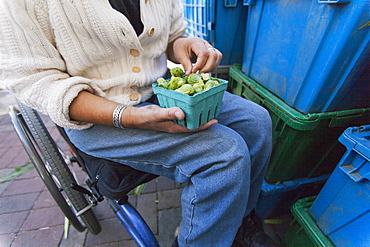 Woman with spinal cord injury sitting in a wheelchair shopping at outdoor market for Brussels sprouts