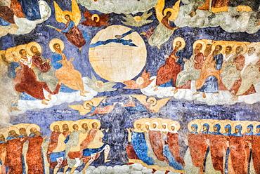 Church of Elijah the Prophet, with colourful frescoes on the walls depicting Biblical scenes; Yaroslavl, Yaroslavl Oblast, Russia