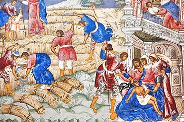Church of Elijah the Prophet, with colourful frescos on the wall depicting Biblical scenes of harvest; Yaroslavl, Yaroslavl Oblast, Russia