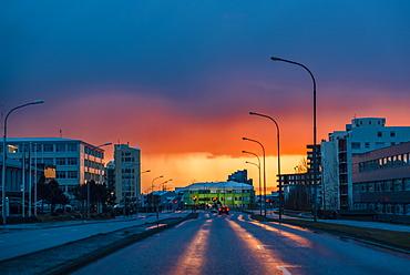 Reykjavik street at sunset; Iceland