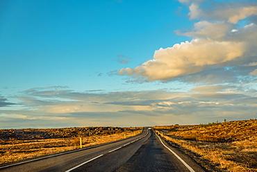 Volcanic landscape and straight road, Reykjanes Peninsula; Iceland