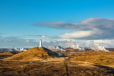 Reykjanes Lighthouse, the oldest lighthouse in Iceland, on Baejarfell Hill, Reykjanes Peninsula; Iceland