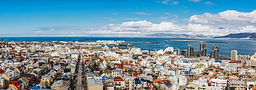 Panoramic view of Reykjavík, from the top of Hallgrimskirkja; Reykjavik, Iceland