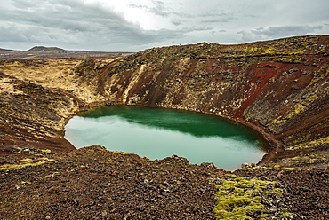 Kerid crater, a volcanic crater lake located in the Grimsnes area; Iceland