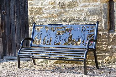Bench as a war memorial (1918 - 2018) commemorating one hundred years, Chollerton Parish; Chollerton, Northumberland, England
