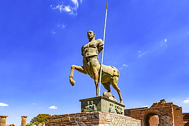Bronze statue of a centaur at an excavation site; Pompeii, Province of Naples, Campania, Italy