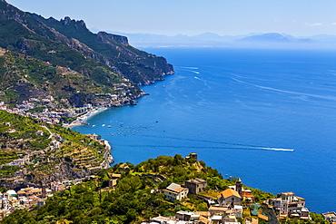 Amalfi and boats in Salerno Bay along the Amalfi Coast; Amalfi, Salerno, Italy