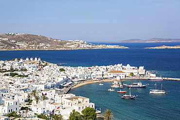 Mykonos town and harbour; Mykonos Town, Mykonos Island, Cyclades, Greece