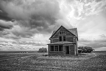 Old farmstead on the prairies; Saskatchewan, Canada