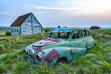 Vintage car sitting in the overgrown grass in a field with old buildings on a farmstead; Saskatchewan, Canada