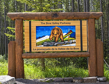 Sign for the Bow Valley Parkway in Banff National Park; Improvement District No. 9, Alberta, Canada