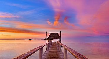 Pier off Malolo Island at sunrise into the South Pacific Ocean; Malolo Island, Fiji