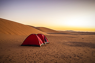 Tents in the sand dunes; Kawa, Northern State, Sudan